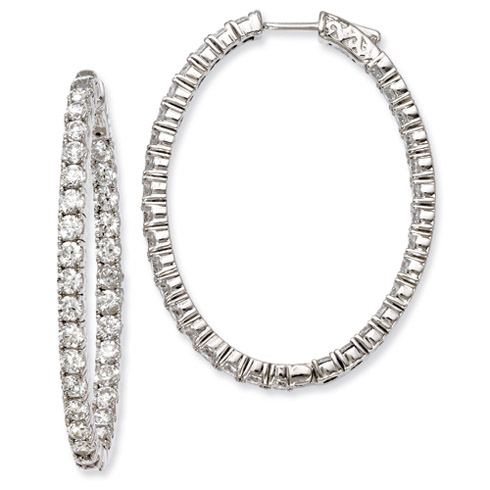 2 3/4in Sterling Silver with CZ Hinged Oval Hoop Earrings