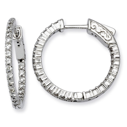 7/8in Sterling Silver with 1.7mm CZ Hinged Hoop Earrings