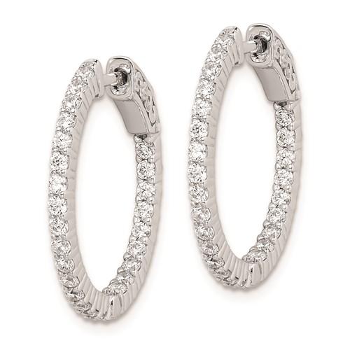 7/8in Sterling Silver with 1.7mm CZ Hinged Hoop Earrings
