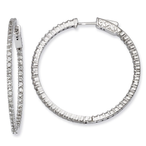 1 3/8in Sterling Silver with 1.7mm CZ Hinged Hoop Earrings