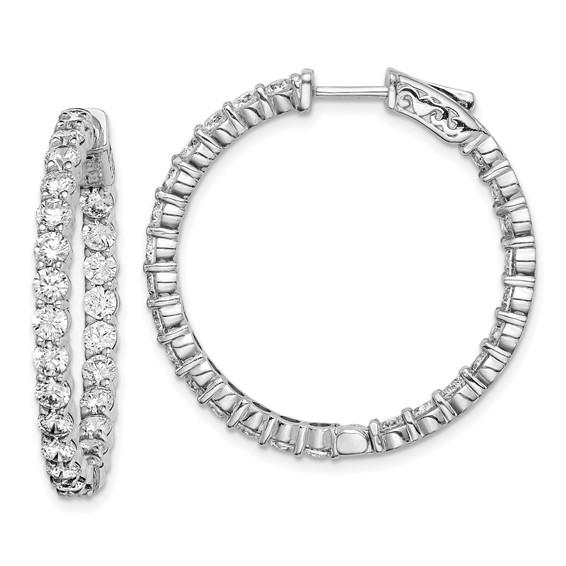 1 1/4in Sterling Silver with 2.9mm CZ Hinged Hoop Earrings