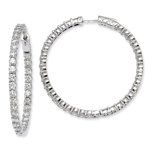 1 1/2in Sterling Silver with 2.9mm CZ Hinged Hoop Earrings