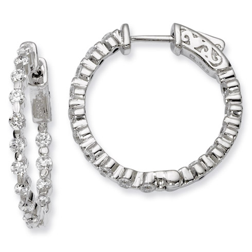 1in Sterling Silver with CZ Hinged Hoop Earrings