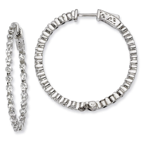 1 1/4in Sterling Silver with CZ Hinged Hoop Earrings