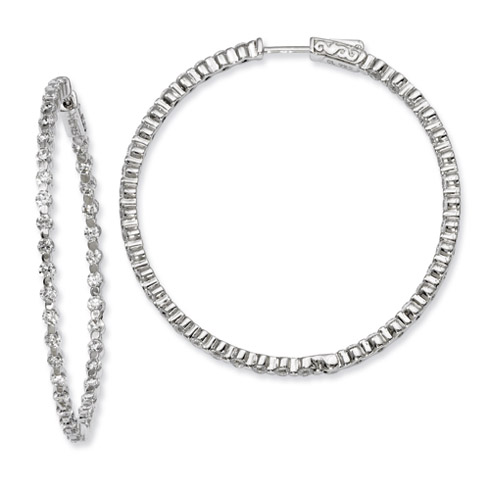 Sterling Silver 2in Inside Out CZ Hinged Hoop Earrings