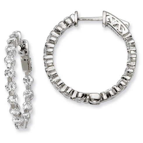 1in Sterling Silver with CZ Hinged Hoop Earrings