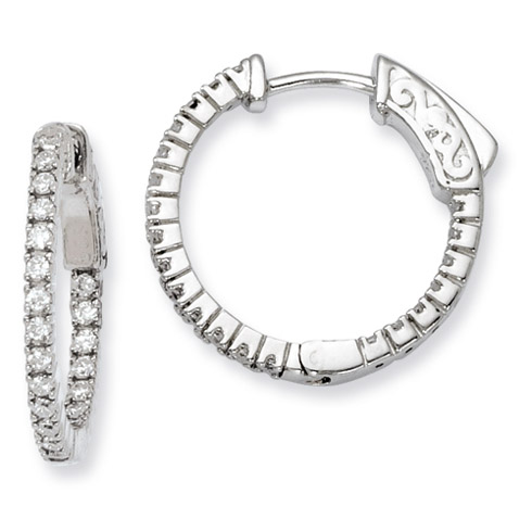 Sterling Silver 3/4in CZ In and Out Hinged Hoop Earrings