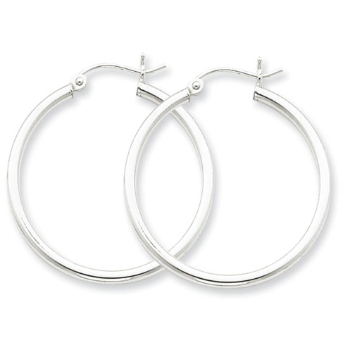 Sterling Silver 1 1/8in Round Hoop Earrings 2mm