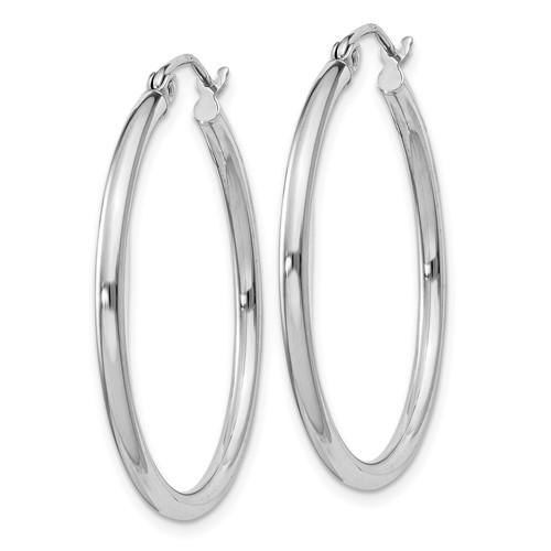 Sterling Silver 1 1/8in Round Hoop Earrings 2mm