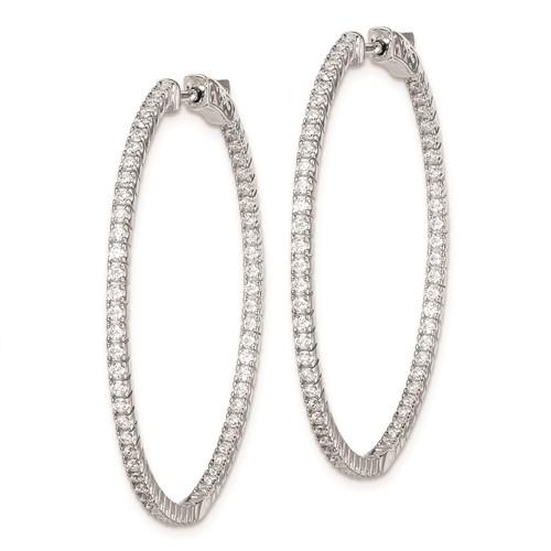 Sterling Silver CZ Slender Hinged Hoop Earrings 1 1/2in