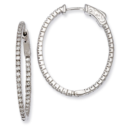 1 1/8in Sterling Silver with CZ Hinged Oval Hoop Earrings