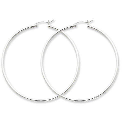 Sterling Silver 2 1/8in Round Hoop Earrings 2mm