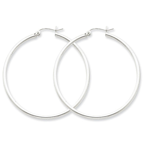 Sterling Silver 1 3/4in Round Hoop Earrings 2mm