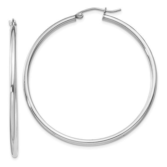 Sterling Silver 1 3/4in Round Hoop Earrings 2mm