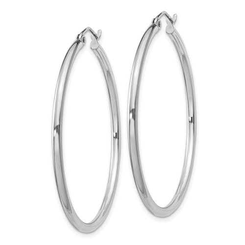 Sterling Silver 1 1/2in Round Hoop Earrings 2mm