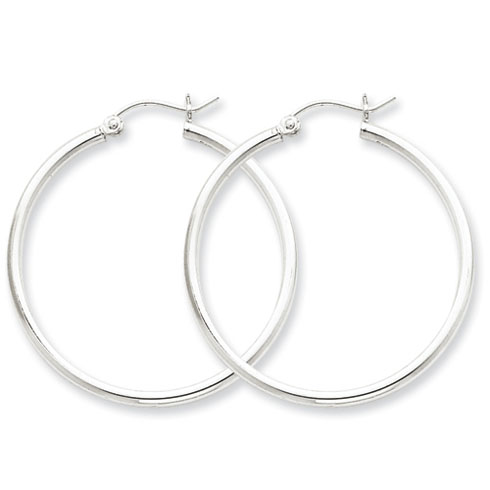 Sterling Silver 1 1/4in Round Hoop Earrings 2mm