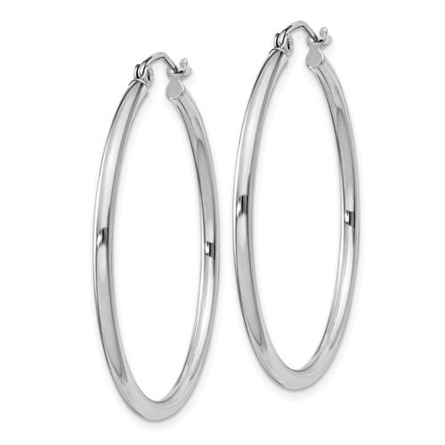 Sterling Silver 1 1/4in Round Hoop Earrings 2mm