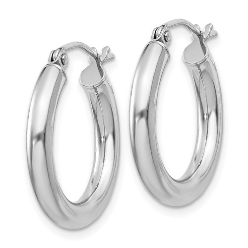 Sterling Silver 3/4in Hoop Earrings with Rhodium Plating 3mm