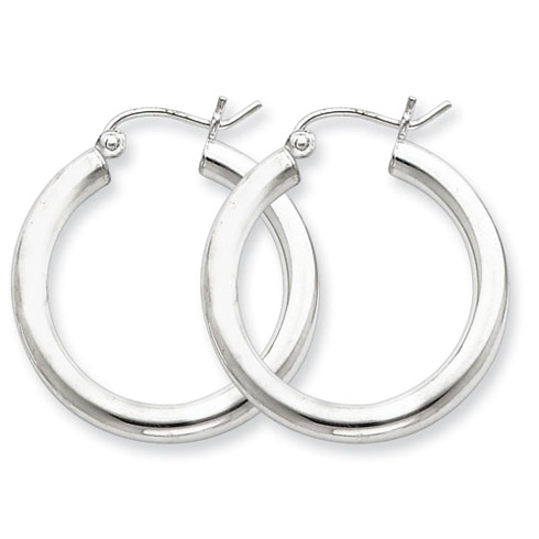 Sterling Silver 1in Hoop Earrings 3mm