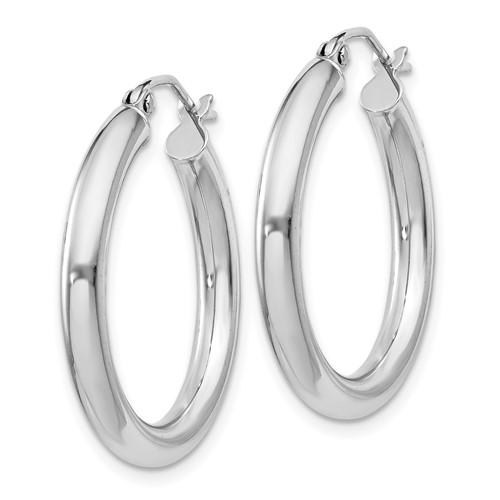 Sterling Silver 1in Hoop Earrings 3mm