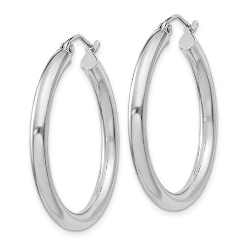 Sterling Silver 1 1/8in Round Hoop Earrings 3mm