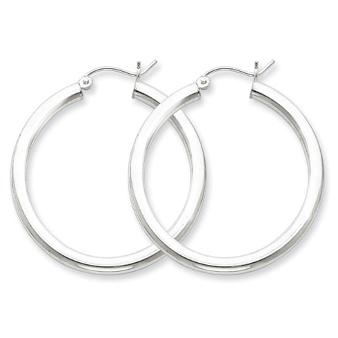 1 1/4in x 3mm Hoop Earrings