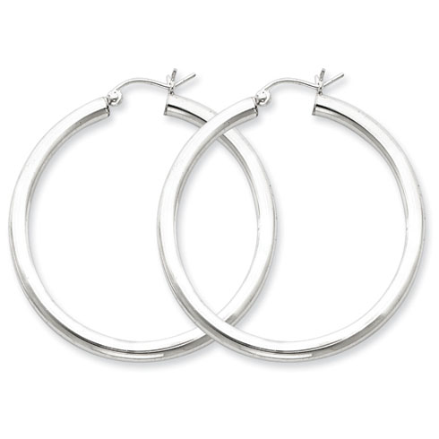 1 1/2in x 3mm Hoop Earrings