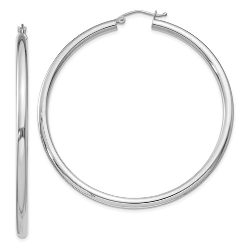 Sterling Silver 2 3/16in x 3mm Hoop Earrings