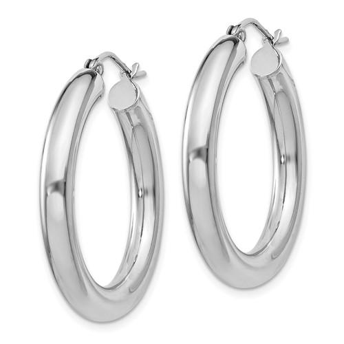 Sterling Silver 1 1/8in Hoop Earrings 4mm