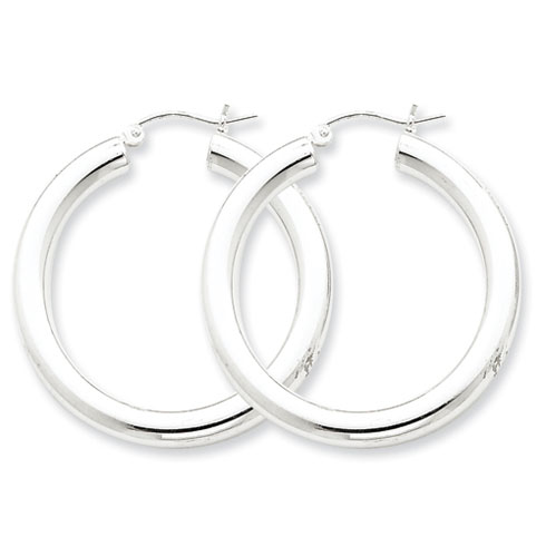 1 1/4in x 4mm Hoop Earrings