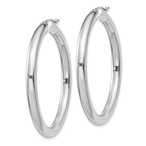 Sterling Silver 1 3/4in Hoop Earrings 4mm