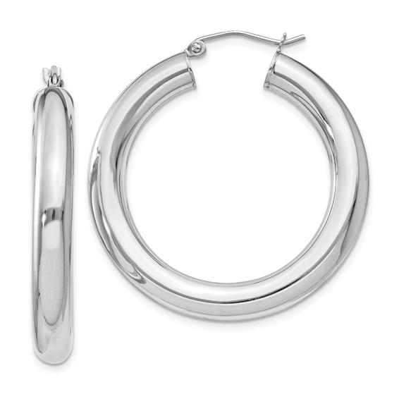 Sterling Silver 1 3/8in Hoop Earrings 5mm