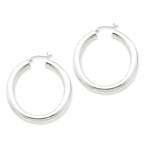 1 1/2in x 5mm Round Hoop Earrings
