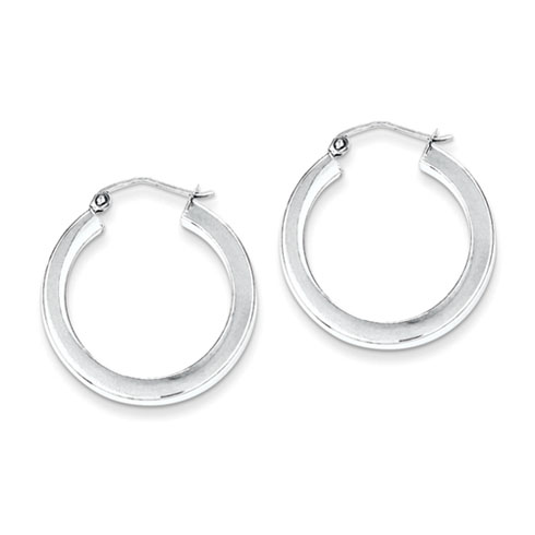 Sterling Silver 1in Hoop Earrings 3.25mm
