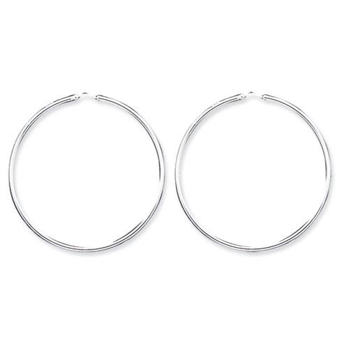 Sterling Silver 2 1/2in Hinged Hoop Earrings 2.25mm