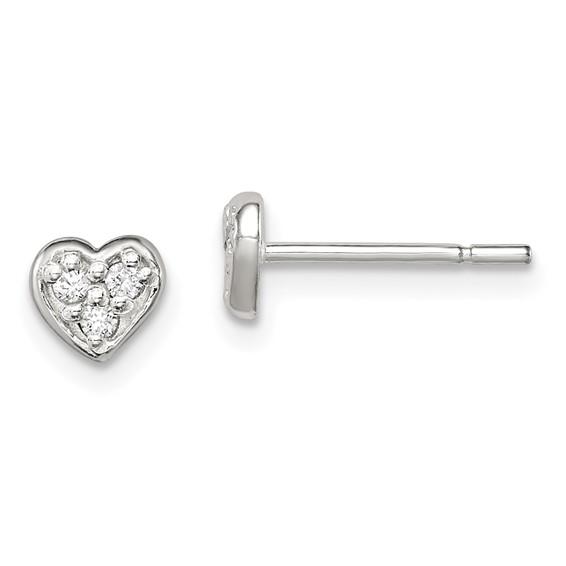 Sterling Silver 1/4in CZ Heart Post Earrings