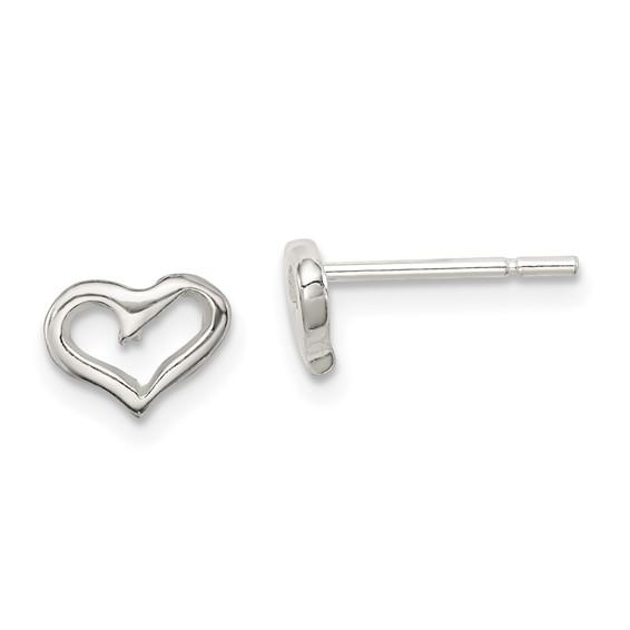 Sterling Silver Tiny Open Heart Post Earrings