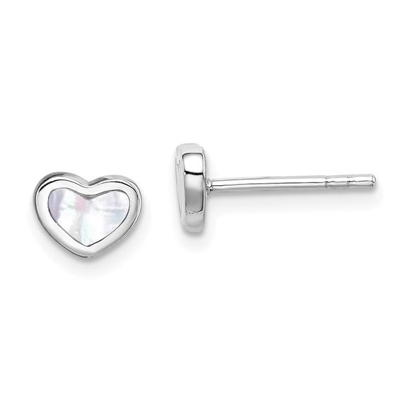 Sterling Silver Mother of Pearl Heart Post Earrings