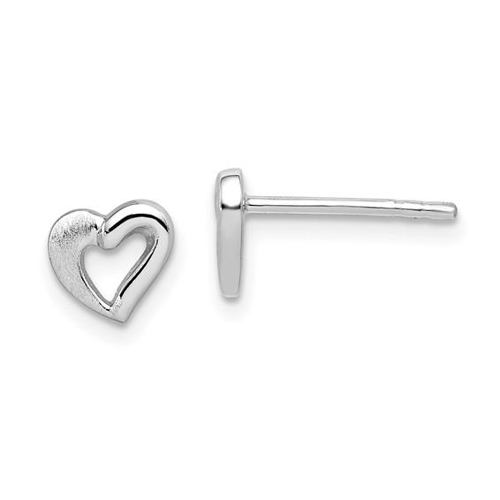 Rhodium Plated Sterling Silver Open Heart Post Earrings