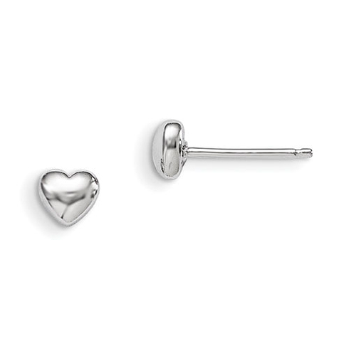 Rhodium Plated Sterling Silver 3-D Polished Heart Post Earrings