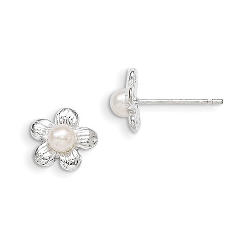 Sterling Silver Flower and Synthetic Pearl Post Earrings