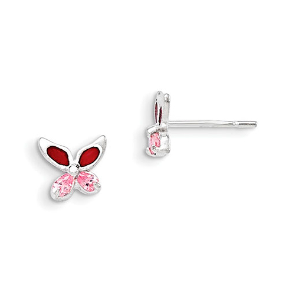 Sterling Silver Pink CZ Enameled Butterfly Post Earrings