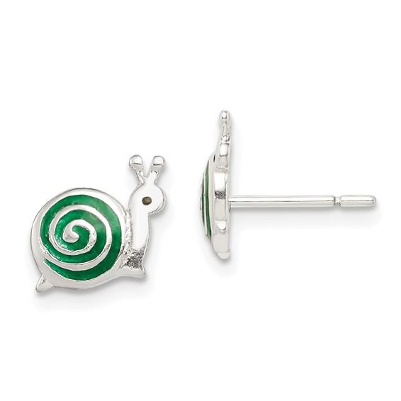 Sterling Silver Green Enameled Snail Post Earrings
