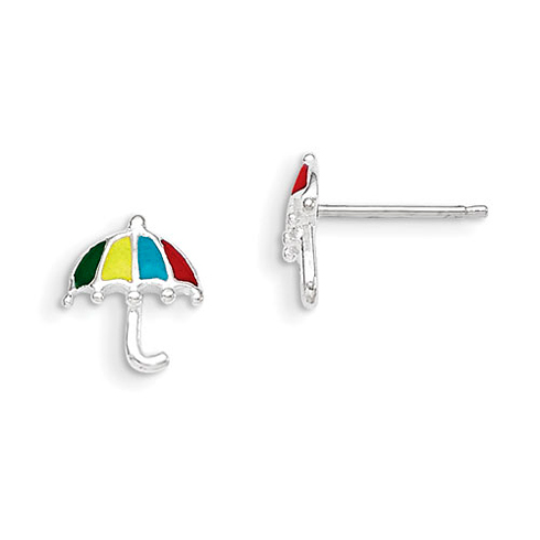 Sterling Silver Enameled Umbrella Post Earrings