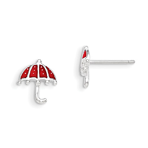 Sterling Silver Red Enameled Umbrella Post Earrings
