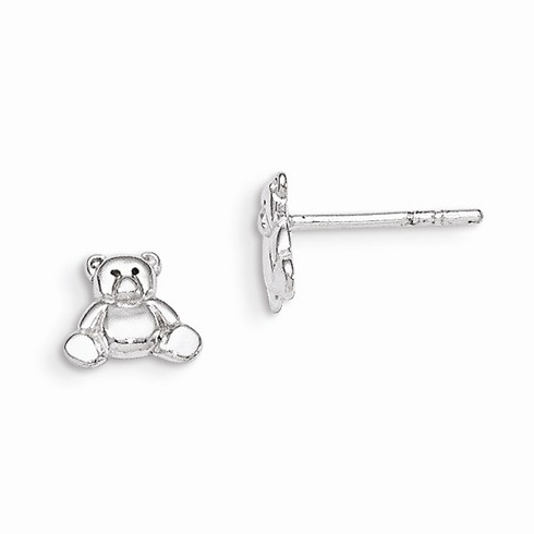 Sterling Silver Flat Teddy Bear Post Earrings