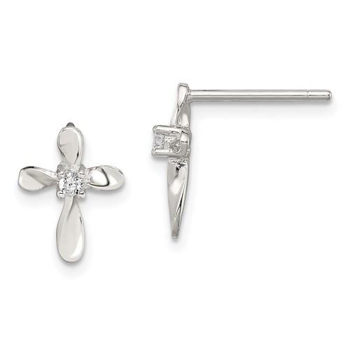 Sterling Silver 1/2in CZ Cross Post Earrings