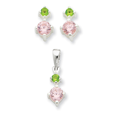 Pink & Green CZ Earring & Pendant Set