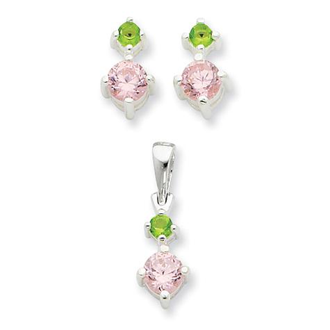 Pink & Green CZ Earring & Pendant Set