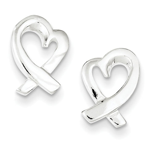Sterling Silver Ribbon Heart Earrings